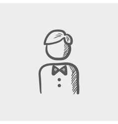 Waiter sketch icon vector image