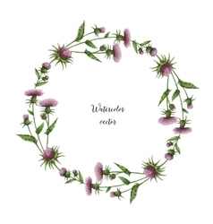 Watercolor round frame of milk Thistle vector