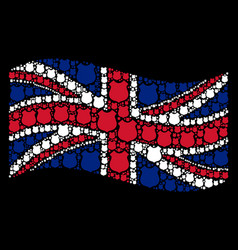 Waving united kingdom flag collage of police vector