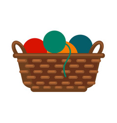 Wicker basket with colorful yarns vector