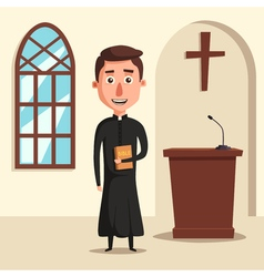Young catholic priest Cartoon vector image