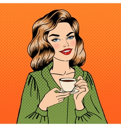Beautiful Woman with Cup of Coffee Pin Up Girl vector image