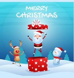 cheerful santa claus in gift box snowman reindeer vector image vector image