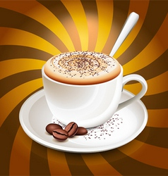 cup of cappuccino over rays vector image vector image