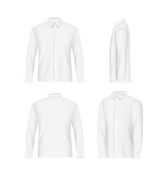 white mens shirt mockup set realistic vector image