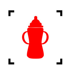 baby bottle sign red icon inside black vector image