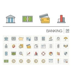 Banking and finance color icons vector image