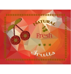Cherries on a triangular background vector image