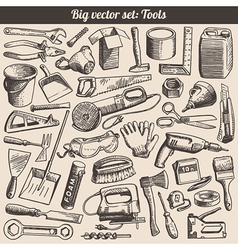 Doodles Collection Of Working Tools Instruments vector image vector image
