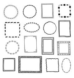 Hand drawn doodle frames borders set vector image vector image