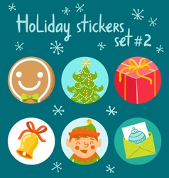 Holiday stickers set 2 vector image vector image