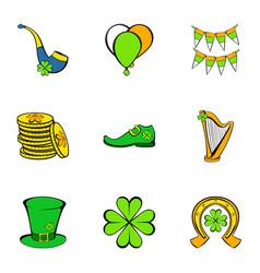 irish holiday icons set cartoon style vector image vector image