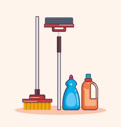 Laundry equipment clear broom mop detergent vector