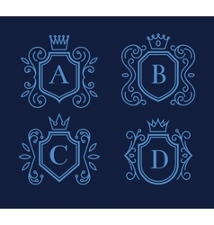 Logo or monogram design with shields and crowns vector image