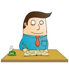 Man writing book vector image vector image