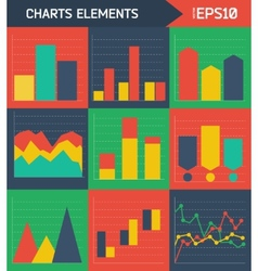 Modern flat charts elements background vector image
