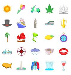 Voyage icons set cartoon style vector