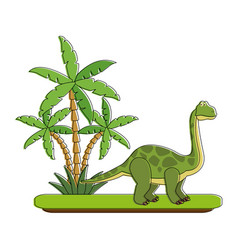 big dinosaur on forest cartoon vector image