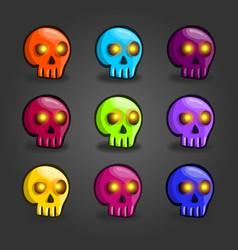 big set of cartoon colored skulls vector image
