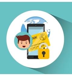 business man secure money bank app vector image