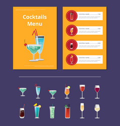 cocktail menu advertisement poster with martini vector image vector image