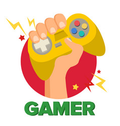 gamer hand with joy stick game concept vector image vector image