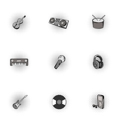 Musical instruments icons set pop-art style vector image