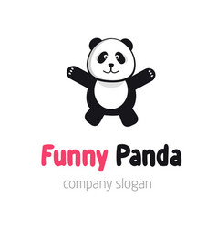 panda bear logo or badge template flat design vector image