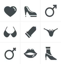 Sex And XXX Icons Set Design vector image
