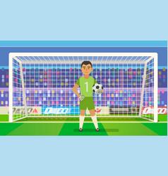 soccer goalkeeper keeping goal on arena vector image vector image