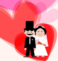 Wedding Greeting Card with Bride - Groom and vector image vector image