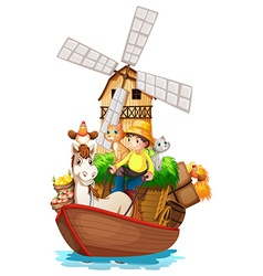 A boat with farm animals and farm fruits vector image vector image