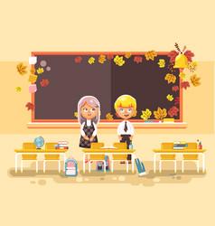 back to school cartoon two vector image vector image