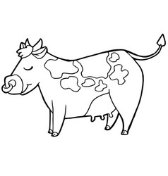 cartoon cute cattle or cow coloring page vector image