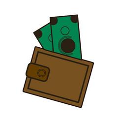 cartoon wallet with money cash image vector image vector image