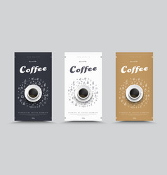 design packaging for coffee with drawings by hand vector image vector image
