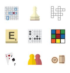 flat icon play set of cube mahjong gomoku and vector image