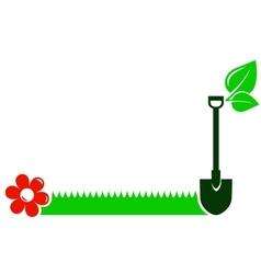 garden background with shovel grass flower leaf vector image vector image