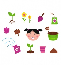 garden spring nature icons vector image