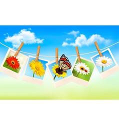 nature background with blue sky and photos vector image vector image