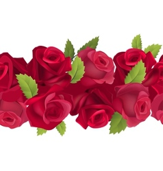 Seamless horizontal border with red roses vector image