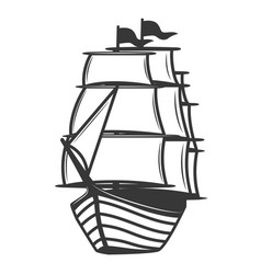 vintage sea ship isolated on white background vector image vector image
