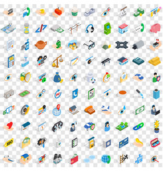 100 medicine icons set isometric 3d style vector
