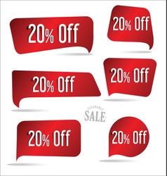 20 percent off red sticker collection vector image