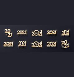 2021 happy new year premium golden logo different vector image