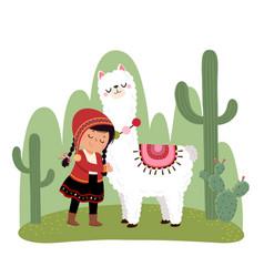 A little peruvian girl and a alpaca vector