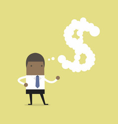 African businessman thinking about money vector