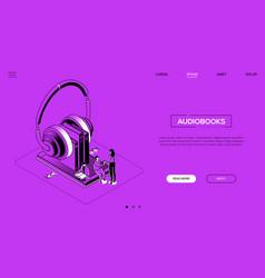 Audiobooks - line design style isometric web vector