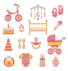 baby girl flat icons vector image