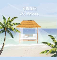 Beach lounge seaside background summer tropic vector